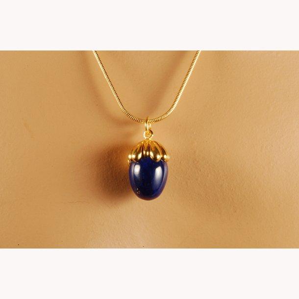 Russisk Fabergé halssmykke med blå hasselnød i lapis og sterling sølv med 22 k forgyldning