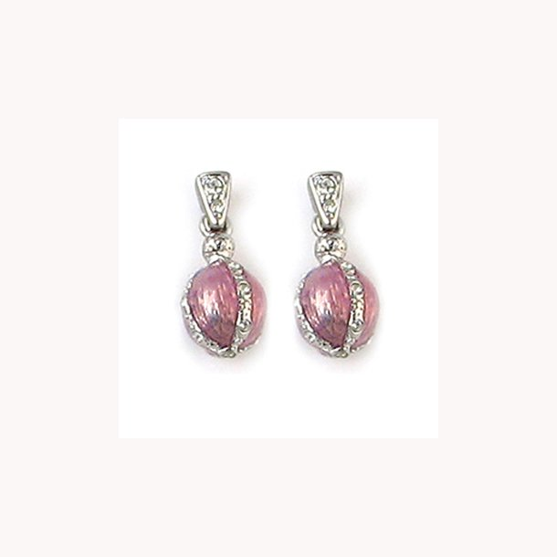 Tiffany æggeøreringe med rosa emalje