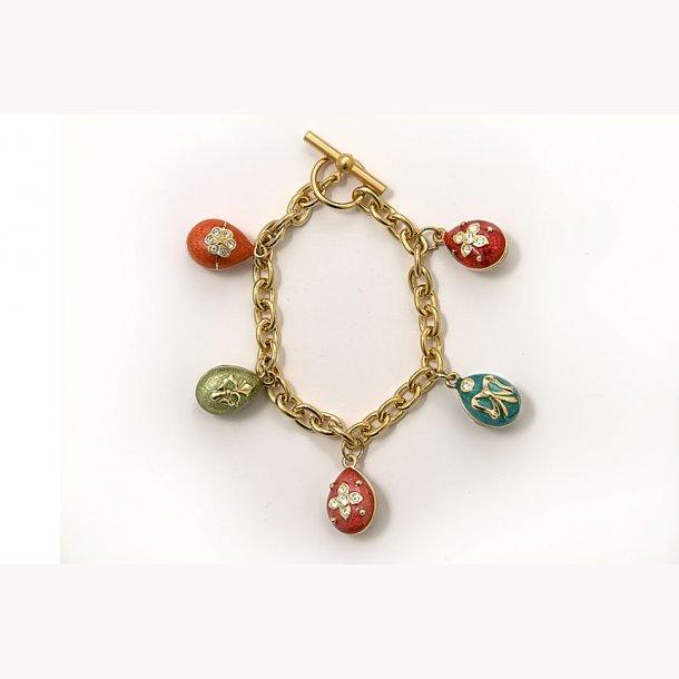 Armbånd med 5 Fabergéæg i pastelfarver, emaljer med krystal og forgyldning