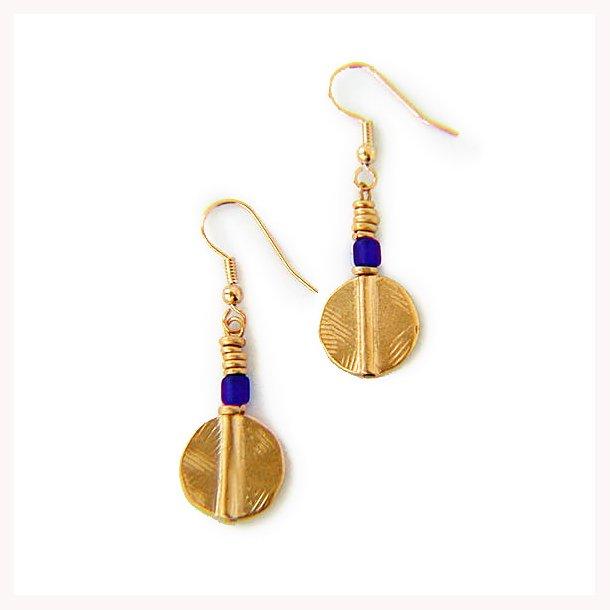 Akan skive øreringe med blå perle