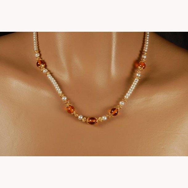 Russiske - baltisk halskæde med perler og rav