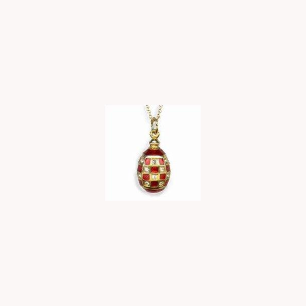 Russisk Fabergé æg-vedhæng med skaktern i rød emalje og krystal, ca. 1880-1910