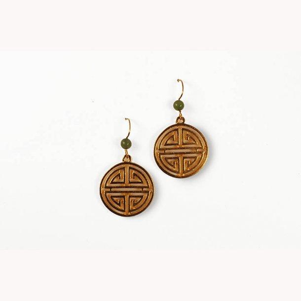 Kinesiske øreringe med Shou symbol